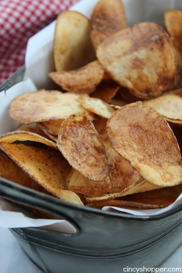Homemade Potato Chips Recipe. Pair these garlic salt and pepper chips with some Sriracha Ketchup and you have one heck of a snack or side dish for your meal.