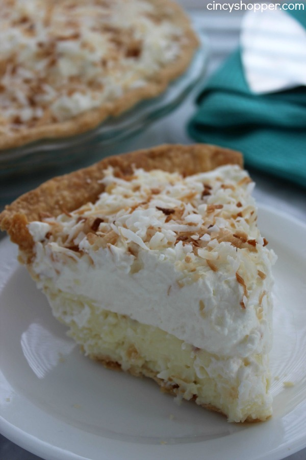Coconut Cream Pie- Super Simple Pie- Starts with a store bought crust. Then topped with the most delish coconut cream filling and topping.