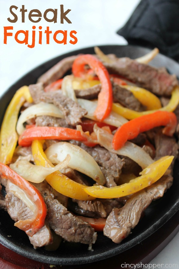 Sizzling Steak Fajitas- Loaded with peppers and onions. Enjoy a Mexican dinner at home. All ingredients can be purchased at Aldi for under $13 and feed a larger family.