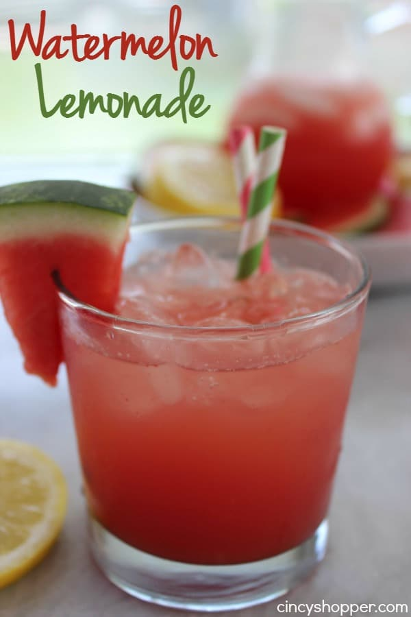 Watermelon Lemonade- super refreshing beverage for summer. Makes for a great for bbq drink