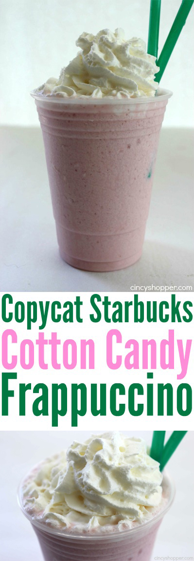 Copycat Starbucks Cotton Candy Frappuccino - New menu item that can be made right at home. Simple and saves $$'s. Perfect summer drink.