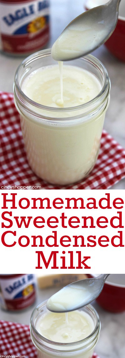 Homemade Sweetened Condensed Milk- Just three simple ingredients. Saves you from taking a trip to the store.