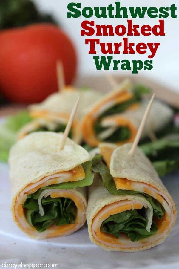 Southwest Smoked Turkey Wraps- Super quick and easy lunch, snack or even dinner idea. Perfect for hot summer months, make for great appetizers
