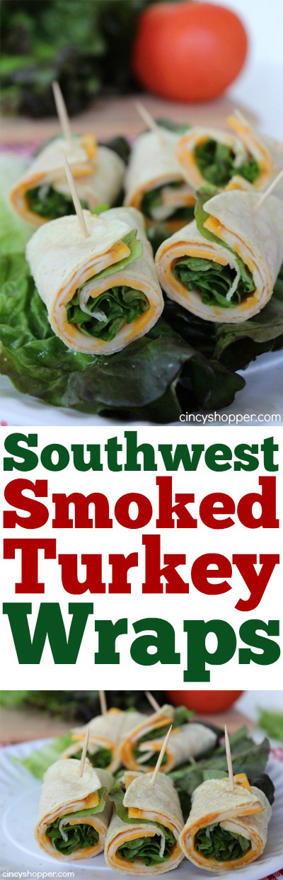 Southwest Smoked Turkey Wraps- Super quick and easy lunch, snack or even dinner idea. Perfect for hot summer months, make for great appetizers.