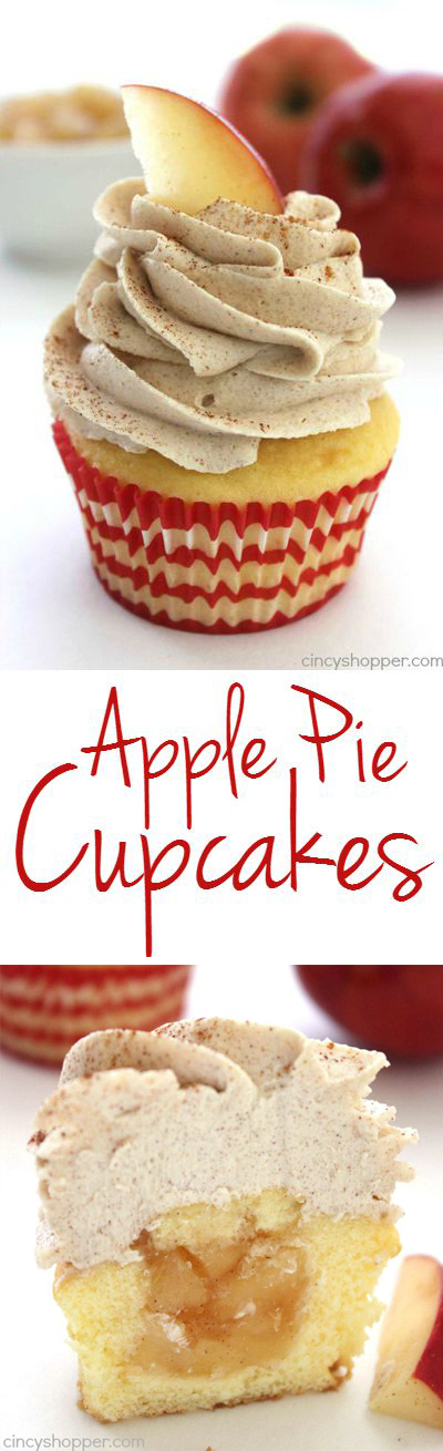 Stuffed Apple Pie Cupcakes with Brown Sugar Cinnamon Icing- super simple cupcake stuffed with apple pie filling and topped with an amazing icing.