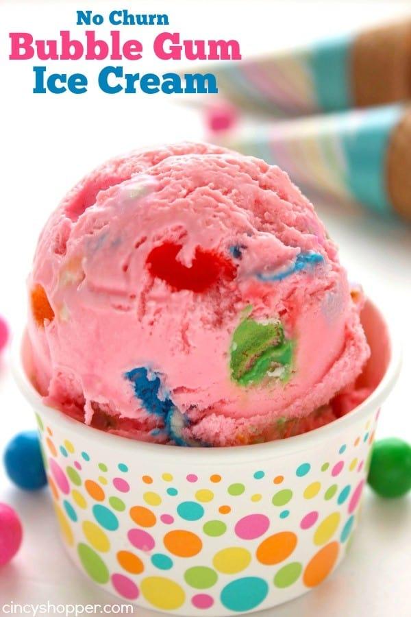 No Churn Bubble Gum Ice Cream 1