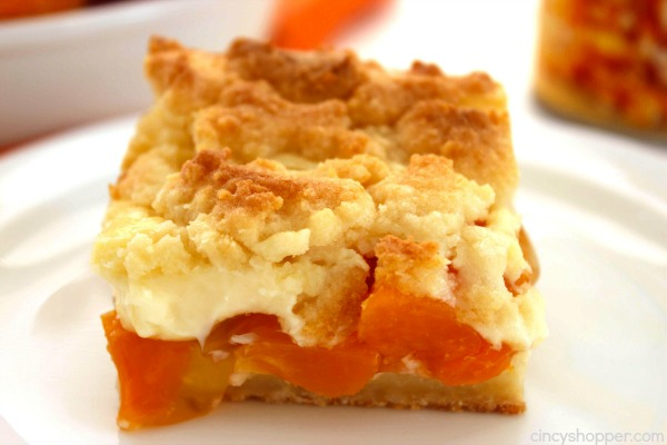Peaches and Cream Bars - Super simple recipe that can be made with fresh or canned peaches. Great for a summer bbq or evening dessert.