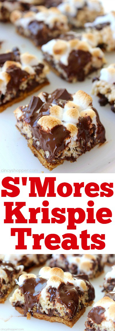 S'Mores Krispie Treats -Perfect treat. Graham cracker crust, then topped with krispie treat, marshmallows ,and loads of chocolate. Super messy and super yummy.