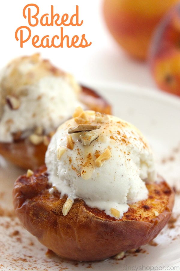 "Baked Peaches - with brown sugar and cinnamon make these peaches AMAZING!. Enjoy them ""as is"" or top with a scoop of vanilla ice cream for a sweet and creamy dessert."