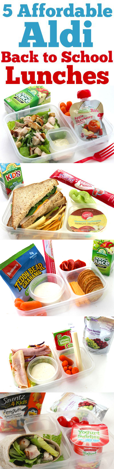 5 Affordable ALDI Back to School Lunches- Shop ALDI and create these 5 affordable and nutritious back to school lunches.
