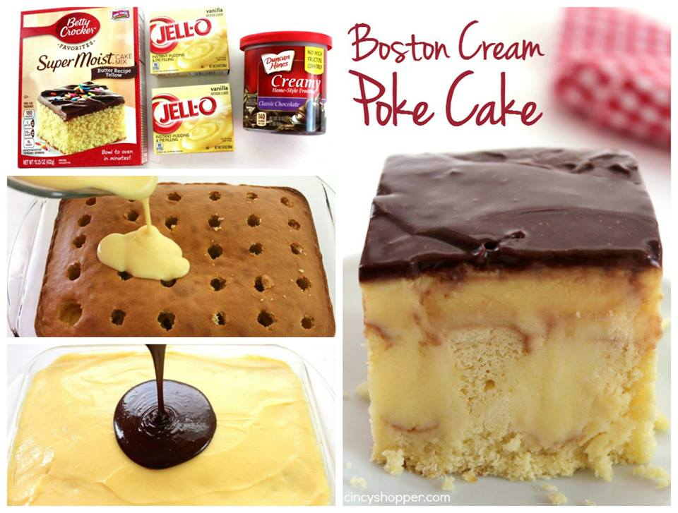 Easy Boston Cream Pie Poke Cake Recipe