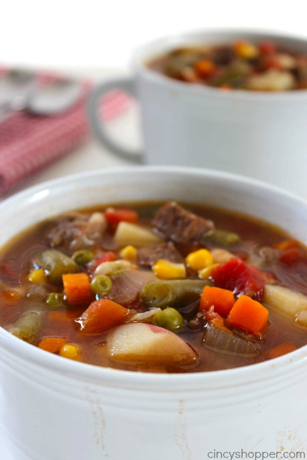Slow Cooker Vegetable Beef Soup - loaded with lots of vegetables, beef and tons of flavor! Perfect fall and winter soup made right in your Crock-Pot.