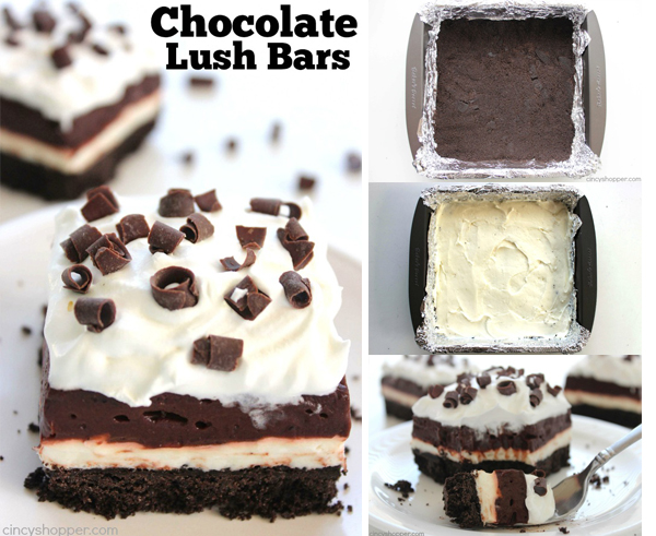 Chocolate Lush Bars - Perfect No Bake dessert. Oreo cookie crust tastes amazing with the cream cheese and chocolate pudding layer.