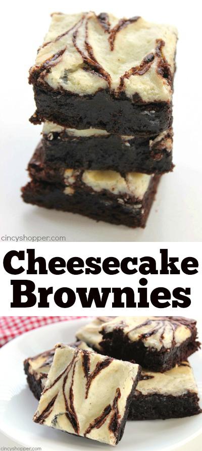 Easy Cheesecake Brownies - Fudge brownies with yummy cheesecake swirls. Super quick dessert idea.
