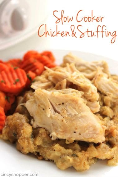Easy Slow Cooker Chicken and Stuffing