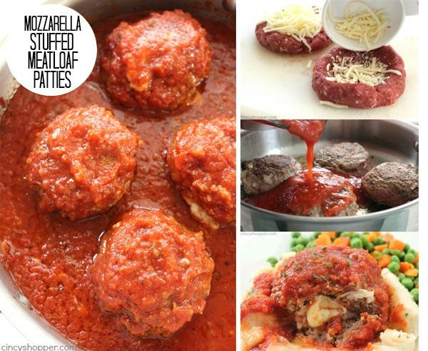 Mozzarella Stuffed Meatloaf Patties FB