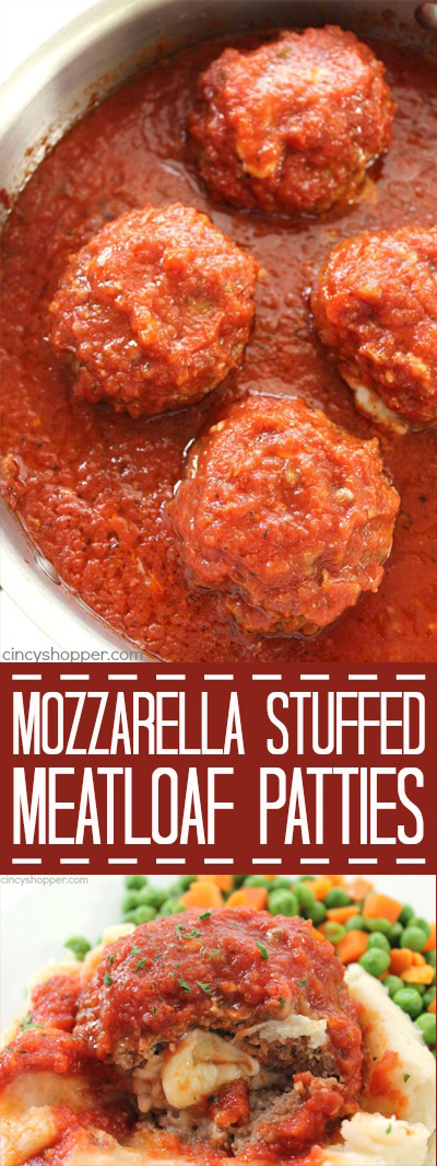 Mozzarella Stuffed Meatloaf Patties - Easy family meal idea. Tomato based sauce is great especially when paired with mashed potatoes. Perfect comfort food.