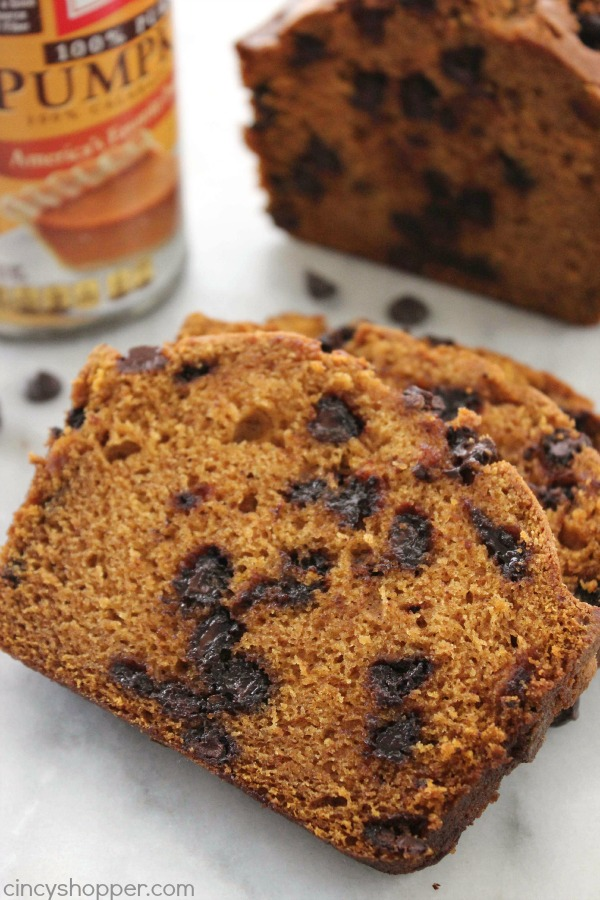 Pumpkin Chocolate Chip Bread - perfect fall breakfast or dessert. You will not only find it quick and easy to make but will also find awesome pumpkin flavors.