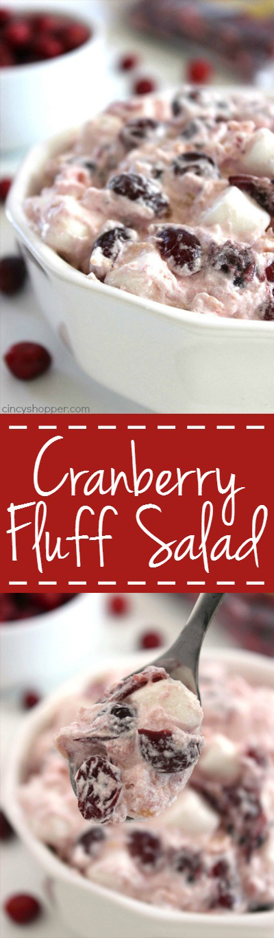 Cranberry Fluff Salad - perfect holiday side dish. If you are fan of Ambrosia Salad, you will LOVE it! You will find tons of Pineapple, marshmallow, Cool-Whip, and cranberry flavors.