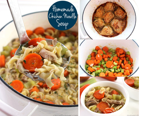 Homemade Chicken Noodle Soup - So Much better than store bought! Tons of chicken, veggies and flavor.