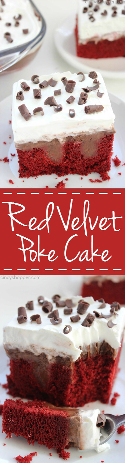 Red Velvet Poke Cake - Super simple dessert idea that tastes AMAZING! Perfect for the holidays.