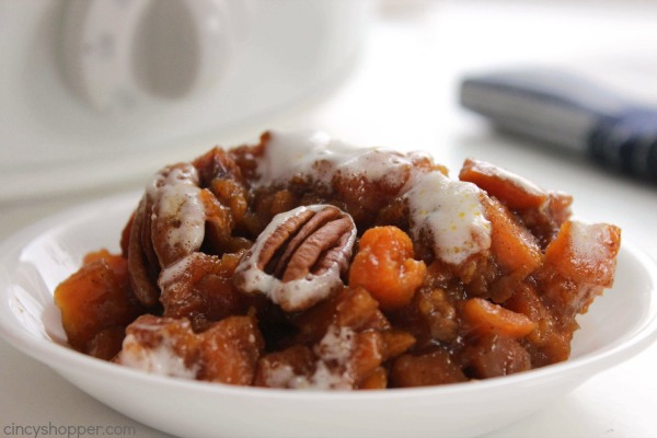 Slow Cooker Sweet Potato Casserole -No need to use precious oven space. Grab your Crock-Pot and get this traditional Thanksgiving side dish cooking.