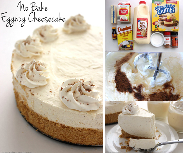 No Bake Eggnog Cheesecake - Even if you are not a fan of Eggnog, you will love this easy cheesecake. Perfect holiday dessert.