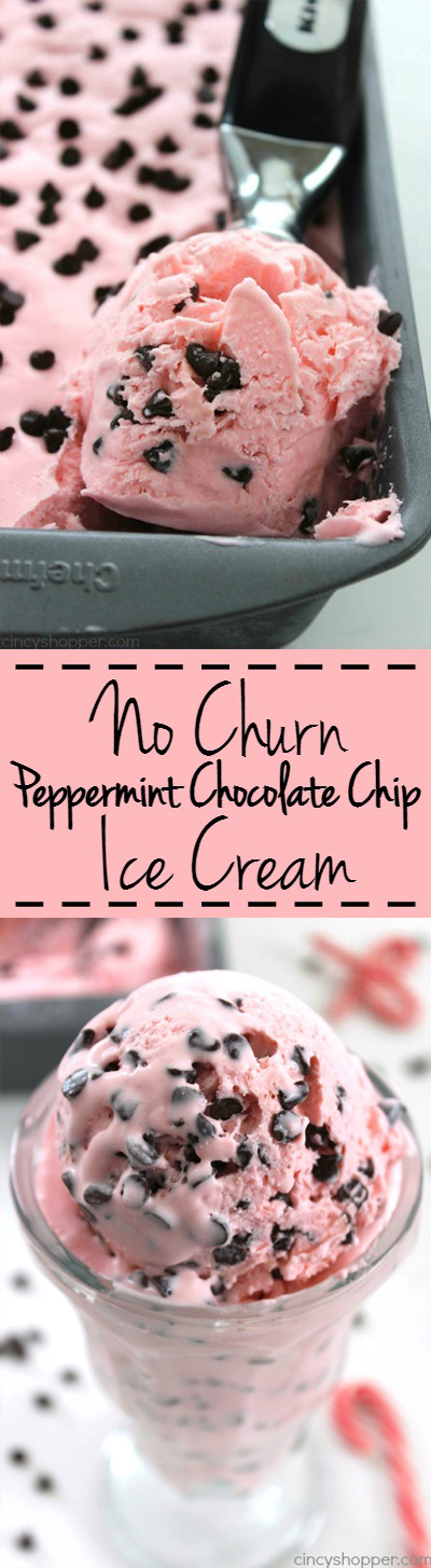 No Churn Peppermint Chocolate Chip Ice Cream -perfect holiday dessert. Since no ice cream machine is needed, the recipe is so super simple
