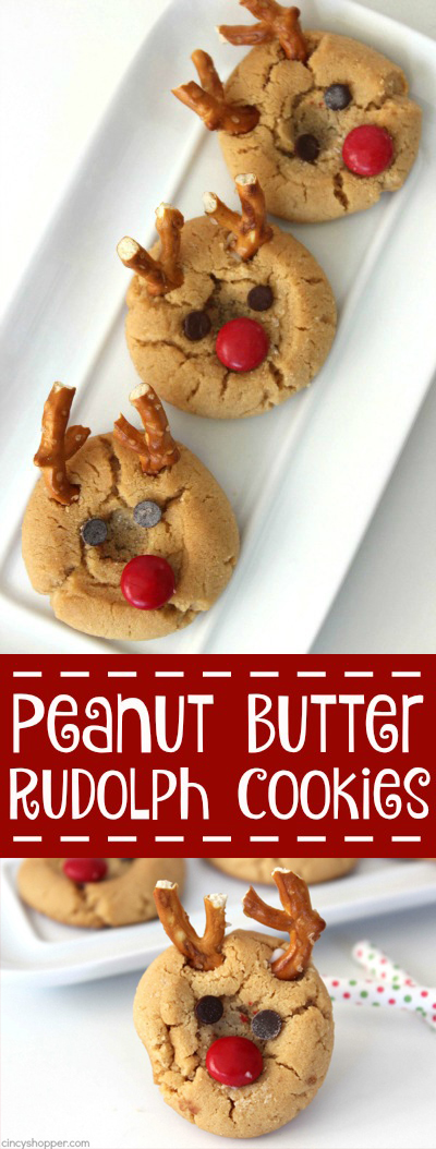 Peanut Butter Rudolph Cookies - Super fun Reindeer Christmas Cookie.