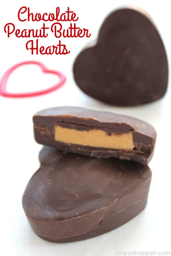 Chocolate Peanut Butter Hearts - just like a Reese's Cup in a fun heart shape for Valentine's Day. Super simple to make. Perfect treat or even a gift.