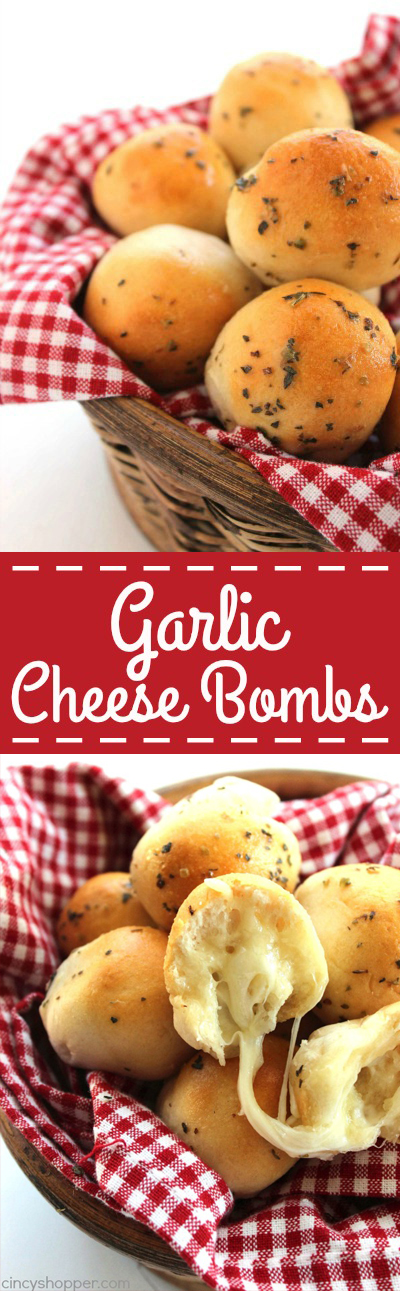 Garlic Cheese Bombs -stuffed with gooey mozzarella cheese and then lathered with a garlic and herb butter. Perfect for family meals or even for an appetizer.