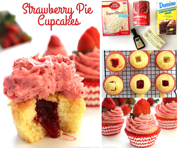 Strawberry Pie Cupcakes FStrawberry Pie Cupcakes- Stuffed with strawberry pie filling and topped them off with the best strawberry butter cream frosting.