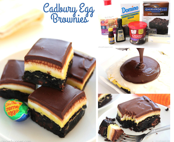 Cadbury Egg Brownies - You will find layers of the sweet filling that you find in those yummy gooey eggs. Perfect Easter dessert.