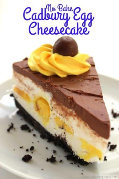 No Bake Cadbury Egg Cheesecake