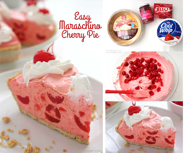 Easy Maraschino Cherry Pie - perfect pie for your summer BBQs. Light and fluffy. Full of sweet maraschino cherry flavor.