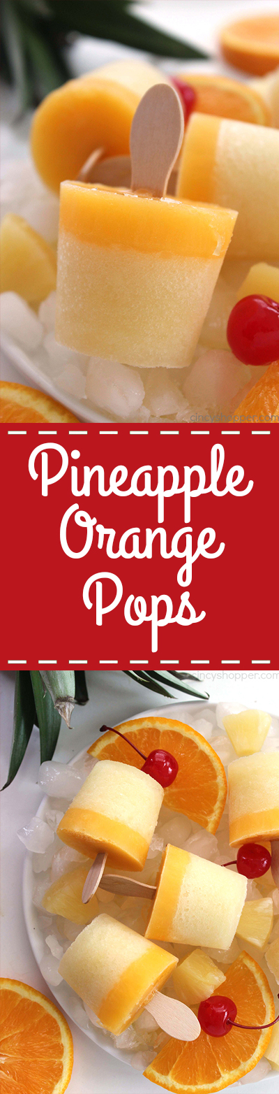 Pineapple Orange Pops - Perfect summer cold treat. Healthy, refreshing, fun and tasty!