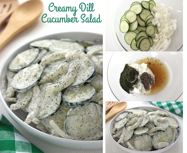 Creamy Dill Cucumber Salad - Will make for a perfect side dish. Cucumbers and onions in a delicious dill dressing make for a perfect combo.