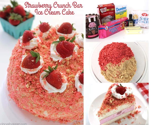 Strawberry Crunch Bar Ice Cream Cake - all the flavors of the famous ice cream bar right in a cake