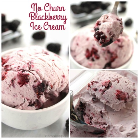 No Churn Blackberry Ice Cream - super easy with No Ice Cream Machine needed. Plump blackberries are a perfect blend with the ice cream mixture.