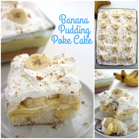 Banana Pudding Poke Cake - all the flavors of a a banana cream pie in this super simple dessert!