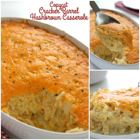 Copycat Cracker Barrel Hashbrown Casserole - o cheesy and so easy to make right at home. Great for breakfast or even a dinner side. Plus they are perfect for potlucks or anytime you are needing to feed a crowd