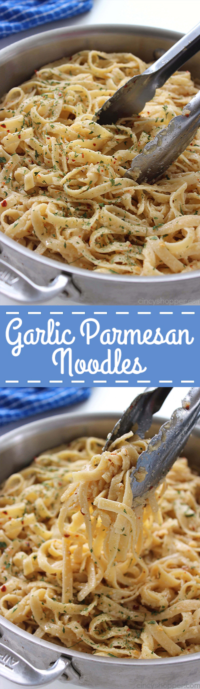Garlic Parmesan Noodles - perfect side dish with just about any meal. Butter, garlic, noodles, Parmesan, and a few minutes of time needed are all that are needed.