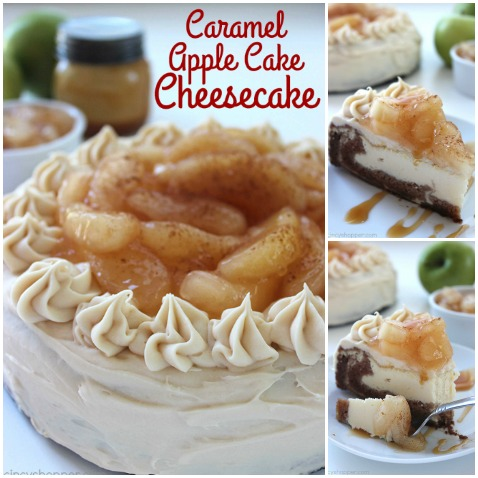 Caramel Apple Cake Cheesecake - perfect fall and holiday dessert. Loaded with great cinnamon, apple, caramel, and cheesecake flavors. Easy to make and oh so good.