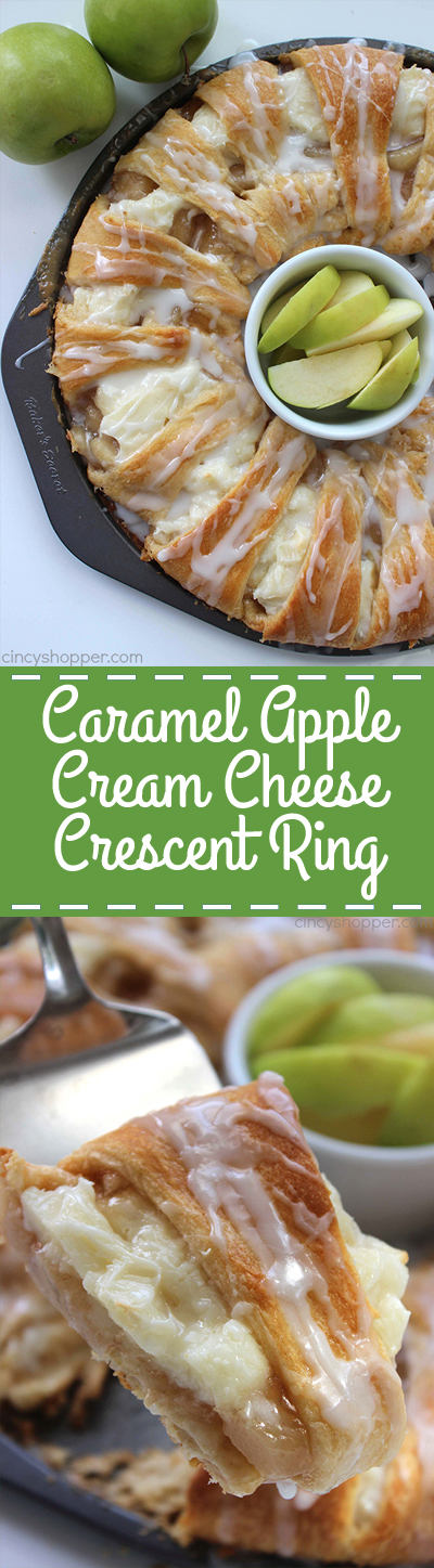 Caramel Apple Cream Cheese Crescent Ring - loaded with apples, cinnamon, cream cheese, caramel, and a sweet drizzle.