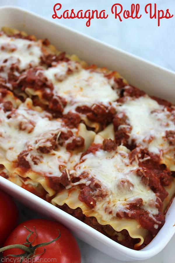 Lasagna Roll Ups - super delicious and easy to make! Great for feeding a large family or a great addition for your next potluck.