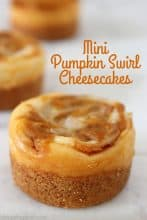 Mini Pumpkin Swirl Cheesecakes