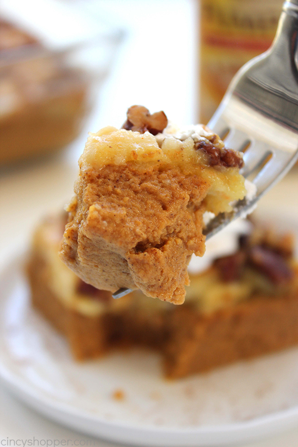 Pumpkin Dump Cake - Such an easy fall dessert. Just mix up your ingredients, dump in a pan, and toss in the oven. Delicious dessert for the holidays.