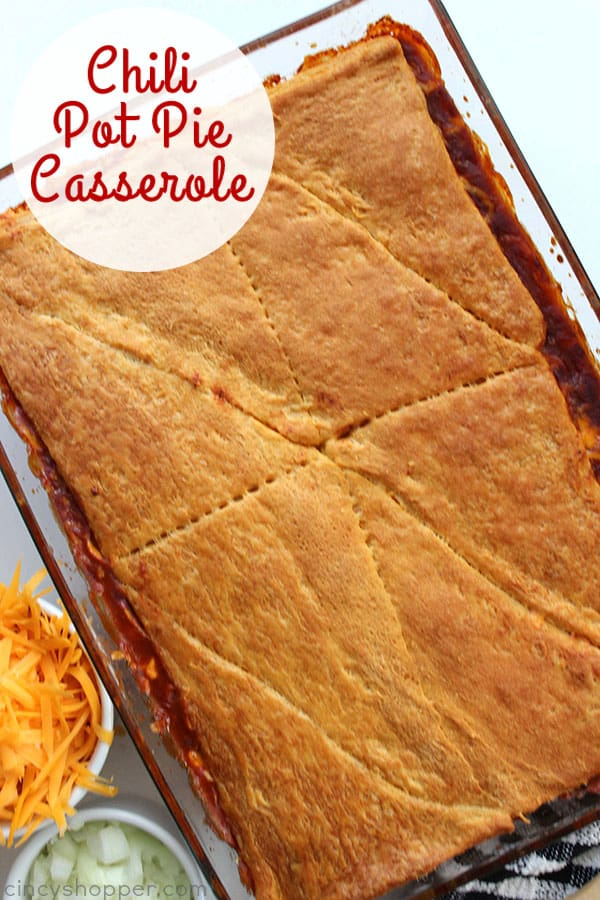 This Chili Pot Pie Casserole with crescent roll crust can be made with homemade chili or chili from a can. A perfect weeknight meal that is great for feeding a larger family.