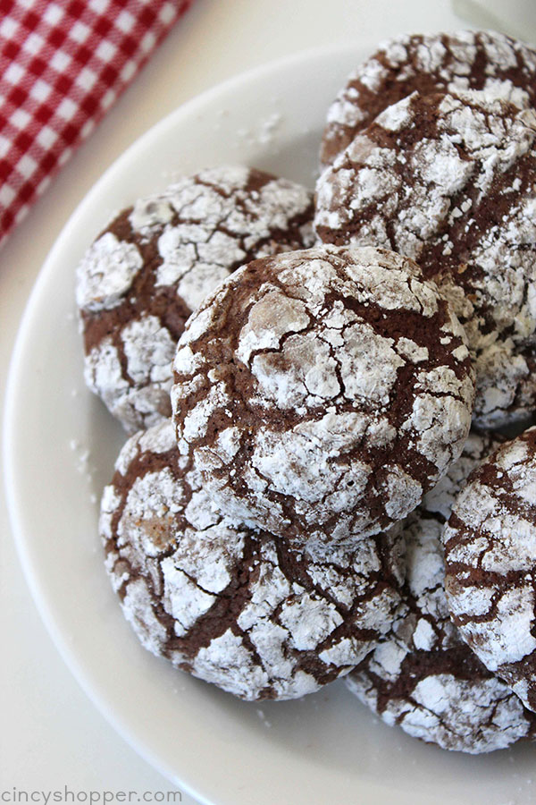 Chocolate Crinkle Brownie Cookies -Great for a Christmas Cookie or a favorite all year round. Soft, chewy, and fudgey just like a brownie. Make them with your favorite brownie mix.
