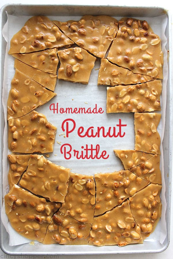 Homemade Peanut Brittle- Perfect traditional recipe that is great for Christmas gifts, holiday candy trays, or all year long sweet.